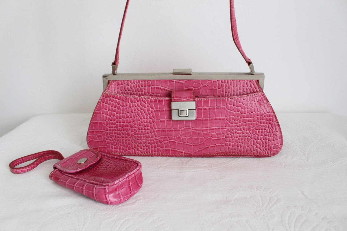 NINE WEST PINK CROC Y2K HANDBAG