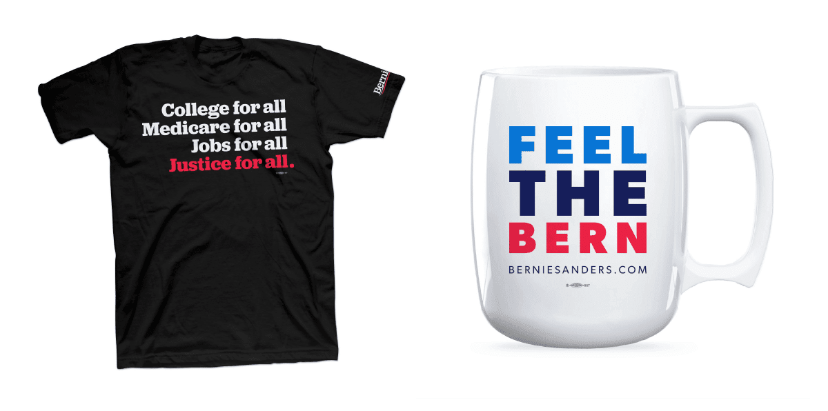 Feel the Bern mug and For All t-shirt