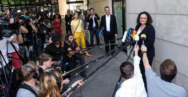 La líder del Partido Socialdemócrata Alemán (SPD), Andrea Nahles, en la rueda de prensa en la que anunció su dimisión.  EFE