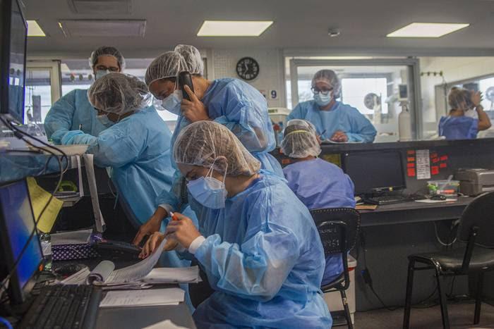 Sala de emergencia para pacientes con coronavirus, en el CASMU (archivo, enero 2021).