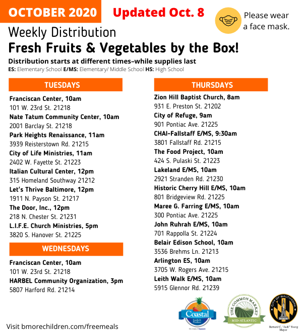 October Produce Box Schedule