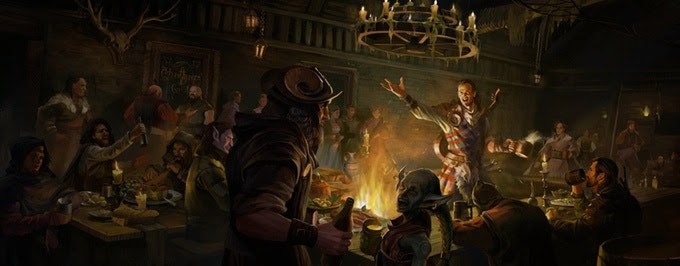 Tavern Scene Concept Art from The Bard's Tale