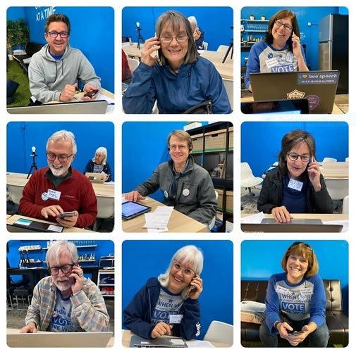 Phone bank volunteers call voters