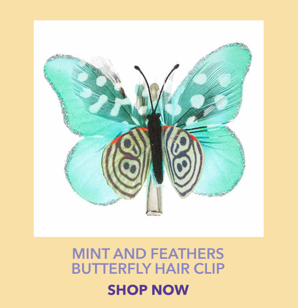 Mint and Feathers Butterfly Hair Clip