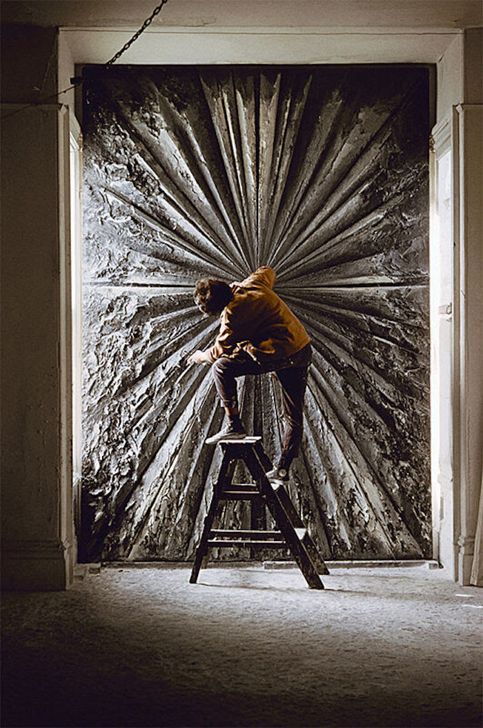 Jay DeFeo working on The Rose, 1960.