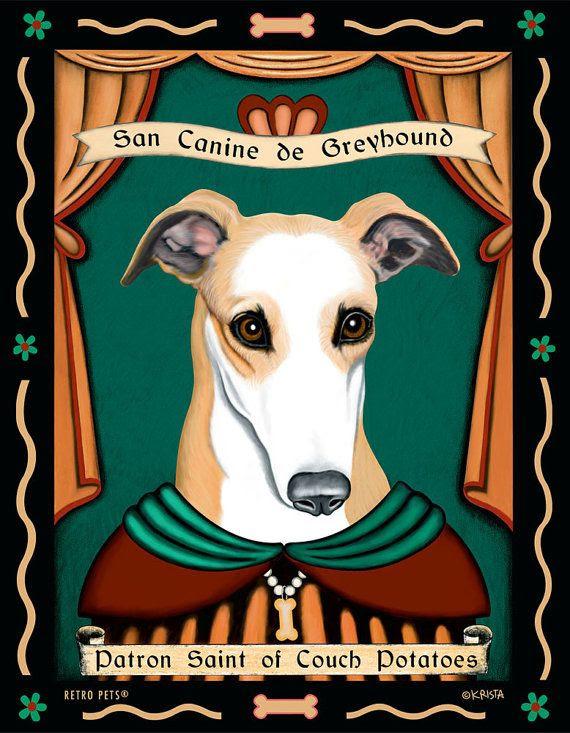 Greyhound Art Dog Wall Art Dog Decor Couch Potatoes | Etsy | Dog ...