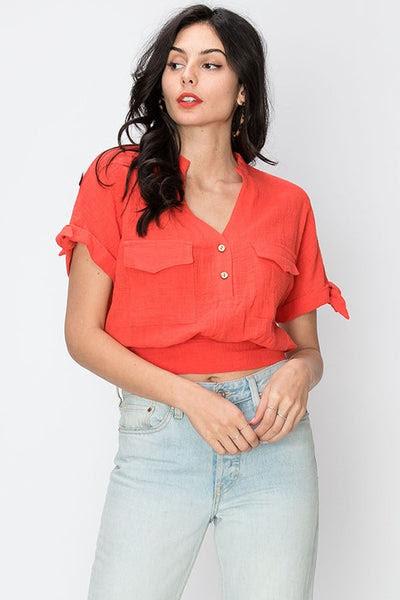 mandarin collar linen crop camp shirt
