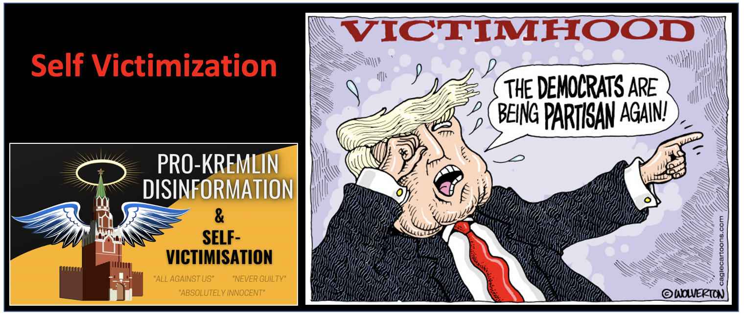 Claim that you are the victim, so you just cannot be the culprit. This self-victimization allows the Kremlin to manipulate the public and evade responsibility for its aggressive foreign policy. This culture of resentment deliberately distracts people from their every day problems.