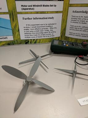 student wind turbine models from science fair