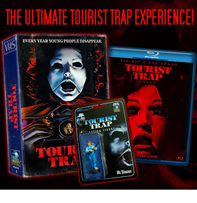 Tourist Trap Vintage VHS Collection Blu-Ray and DVD Box Set with Action Figure