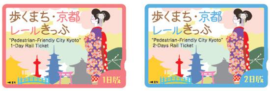 (左)歩くまち・京都レールきっぷ1日版券面 (右)歩くまち・京都レールきっぷ2日版券面