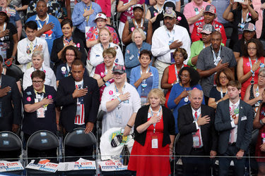 The Pledge of Allegiance and National Anthem preceded the roll call vote in Philadelphia on Tuesday.<br /><br />