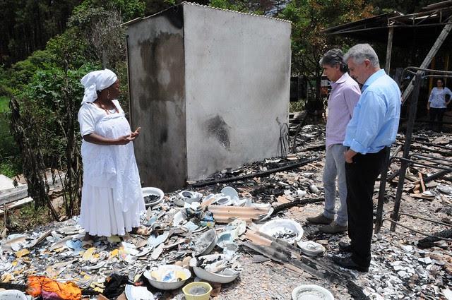 Em 2015, terreiro de candomblé Axé Oyá Bagan, localizado em Brasília (DF), foi atacado e incendiado  - Créditos: Foto: Toninho Tavares/Agência Brasília