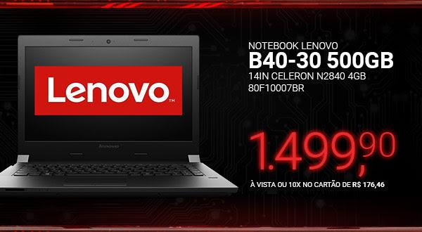 Notebook Lenovo B40-30 14in Celeron N2840 4GB 500GB 80F10007BR