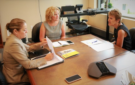 UW President Laurie Nichols and Community College Executive Director Sandy Caldwell meet with State Superintendent Jillian Balow in her office at the Wyoming Department of Education.