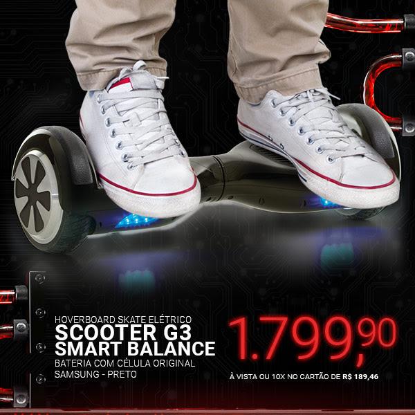 Hoverboard Preto Skate Elétrico Smart Balance Scooter G3 - Bateria com célula Original Samsung