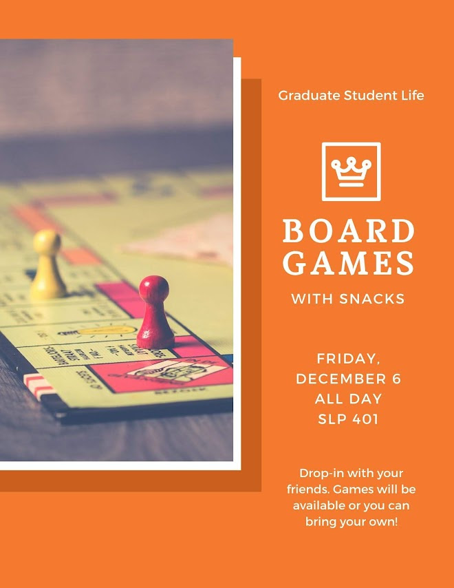 Wellness Week Board Game Friday, SLP 401, all day, snacks provided