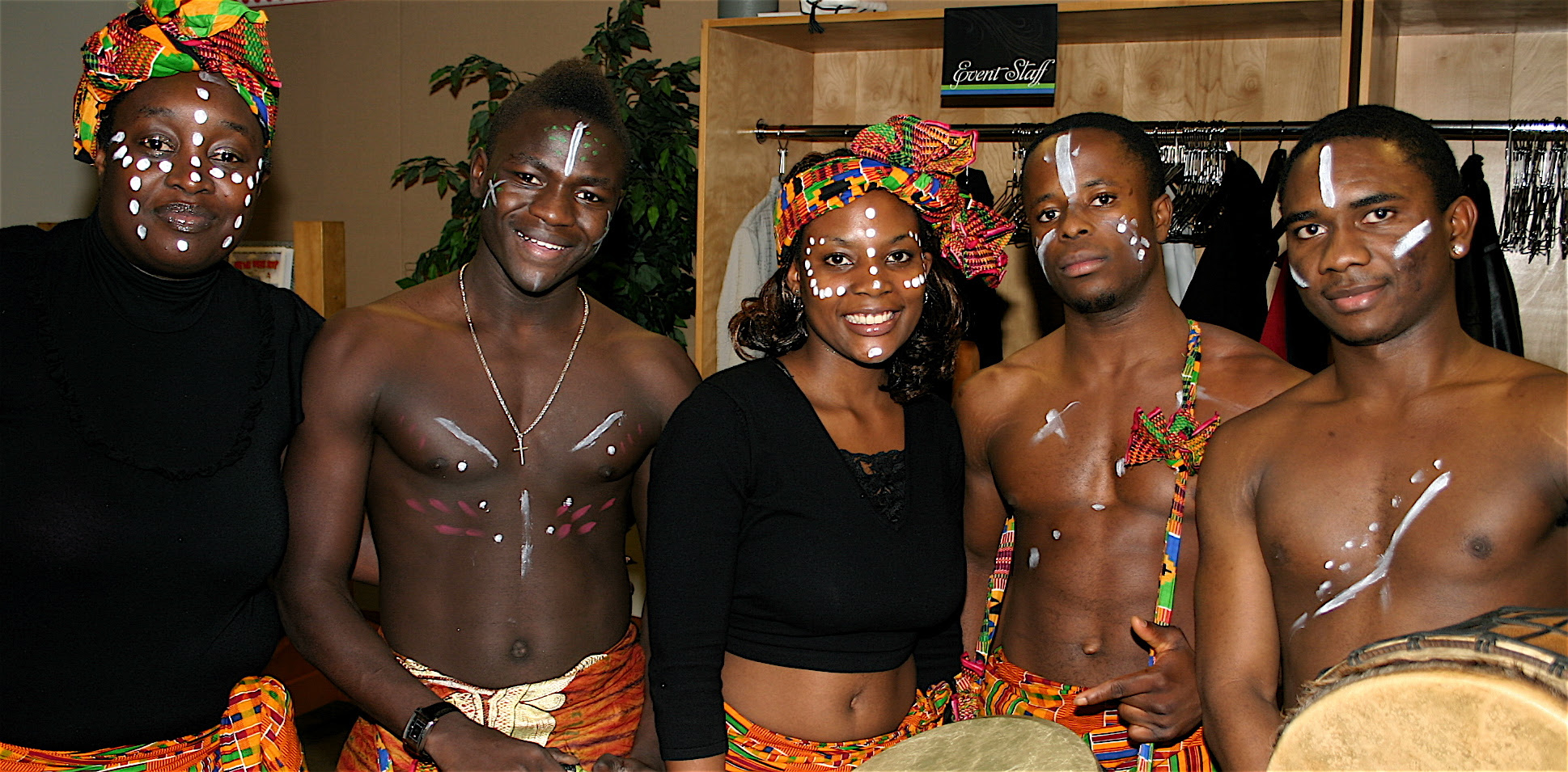 African Dancers and Drummers in traditional dress