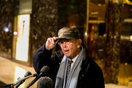 Wilbur Ross, President-elect Donald J. Trump's nominee for commerce secretary, speaking to reporters at Trump Tower in Manhattan on Tuesday.