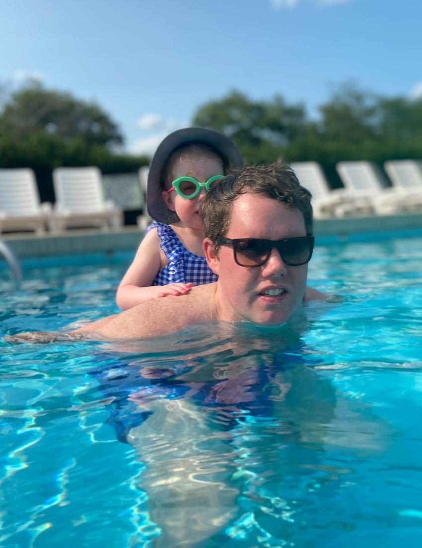 David and Amelia swimming