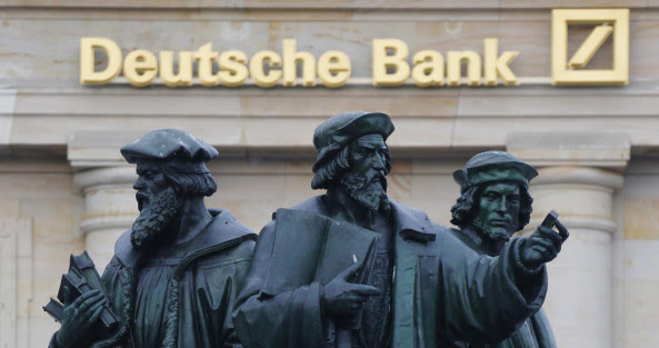 File photo of statue  in front of the former headquarters of Deutsche Bank in Frankfurt