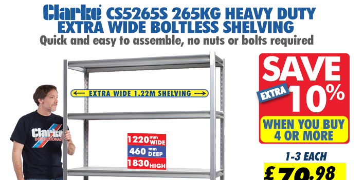 Clarke CS5265S 265kg Heavy Duty Extra Wide Boltless Shelving