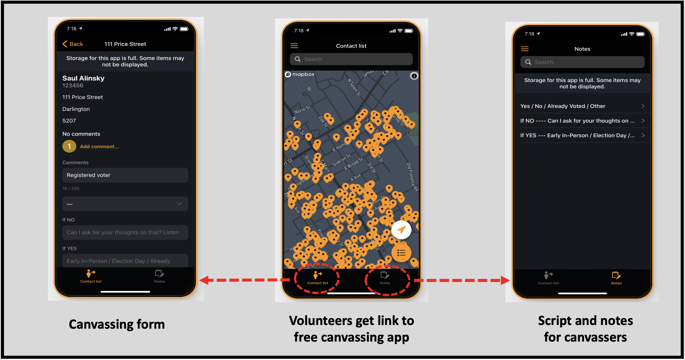 Canvassing app interface