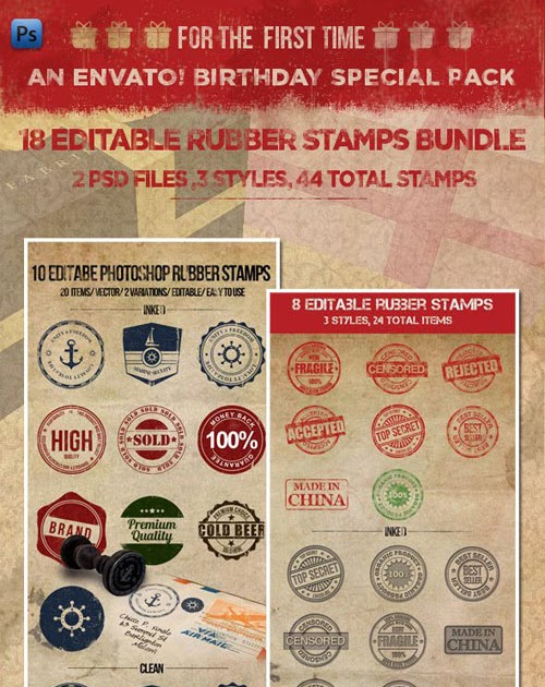 18 Editable Rubber Stamps Bundle  2953045fe86