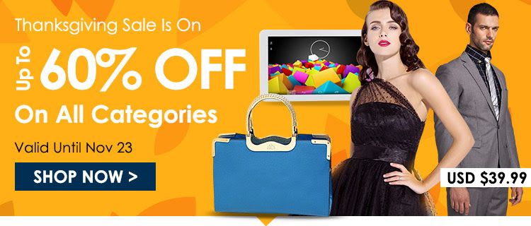 Happy thanksgiving up to 60% off all categories at  Lightinthebox.com