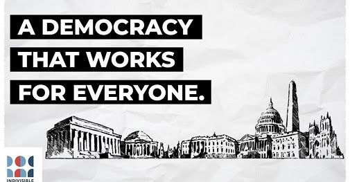 Text: A democracy that works for everyone. Background is a black and white line drawing of buildings on the National Mall.