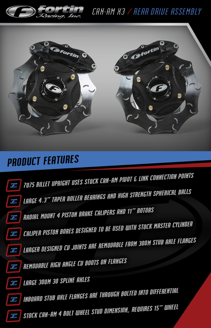 Fortin Racing, Canam X3, Canam Brakes, Canam Hubs, UTV, SideXSide, Off Road Parts, High Performance Brakes
