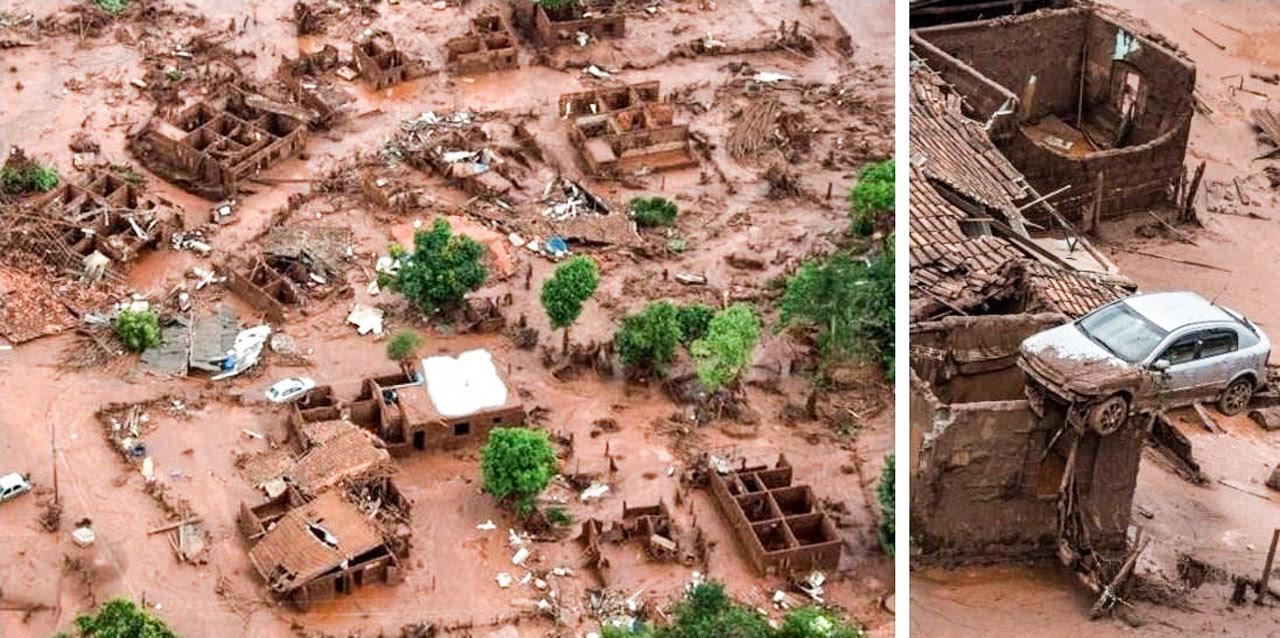 Εικόνα 1: Ο οικισμός 600 κατοίκων Bento Rodrigues εξαφανίστηκε τελειωτικά. Το ορμητικό «τσουνάμι» των σιδηρούχων αποβλήτων, ύψους μέχρι 20 μ., παρέσυρε τις στέγες και κατάστρεψε ολοσχερώς τα οικήματα. Ο χείμαρρος του τέλματος ήταν τόσο σφοδρός, ώστε το αυτοκίνητο που διακρίνεται στο αριστερό μέρος της εικόνας, σηκώθηκε αρκετά μέτρα ψηλά και «προσγειώθηκε» επάνω στην κατεστραμμένη στέγη ενός οικήματος (βλ. δεξιά λεπτομέρεια)