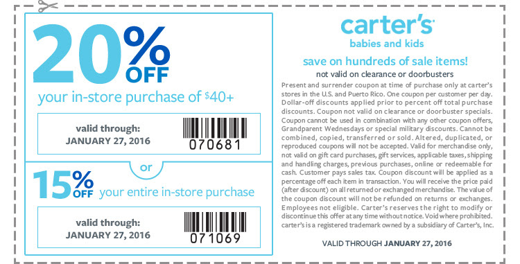 20% off your in-store purchase of $40+ or 15% off your entire in-store purchase. Not valid on clearance or doorbusters. Coupon valid through January 27, 2016.