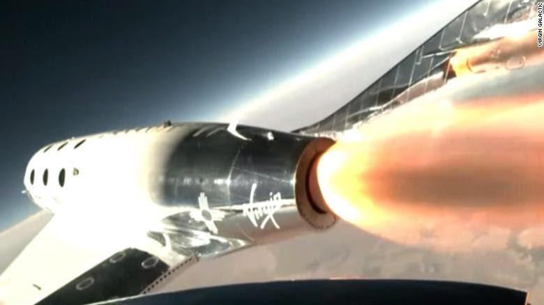 Virgin Galactic's Richard Branson reaches space in a test flight