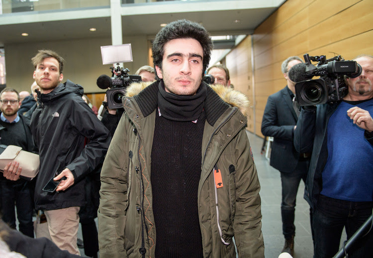 The Syrian refugee Anas Modamani arrives for court today in his lawsuit against Facebook in Wurzburg, Germany. (Thomas Lohnes/Getty Images)</p>