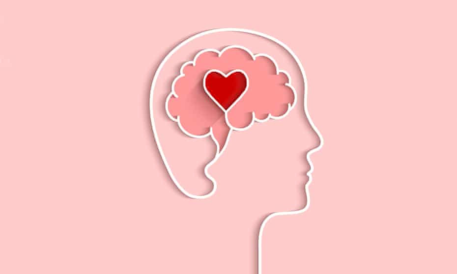 Outline of a head with a brain and heart symbol entwined inside