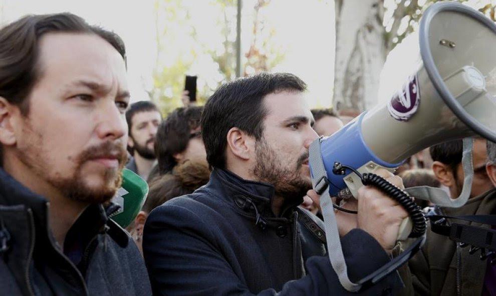 Alberto Garzón este sábado en Madrid durante las protestas contra Gas Natural / EFE