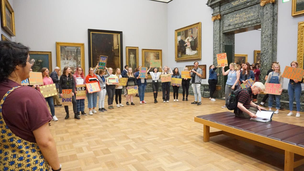 Students from Plymouth College of Art protest at Tate Britain 6
