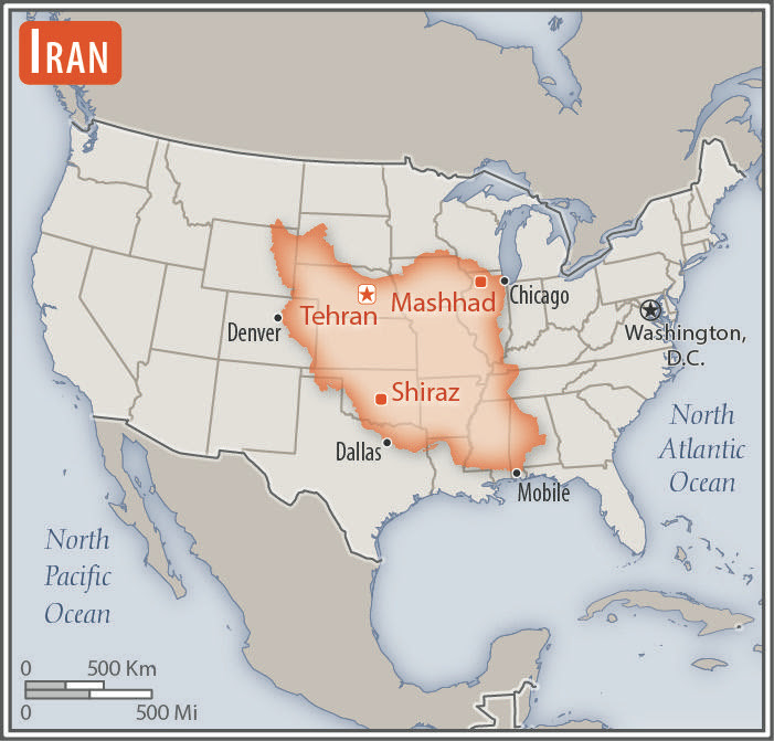 map compares size of Iran to USA