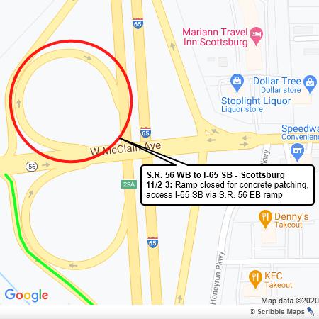 SR 56 WB to I-65 SB in Scottsburg