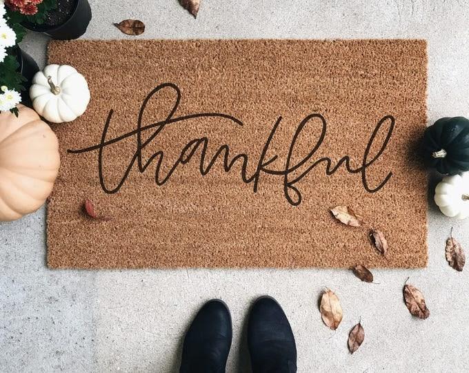 Thankful Welcome Mat | Door Mat | Hand Painted | Housewarming Gift | Wedding Gift | Outdoor Doormat