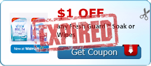 $1.00 off any Fresh Guard™ Soak or Wipes