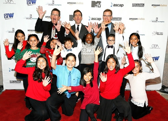 Ed Helms and Teacher Richard Meyer pose with Host Andy Richter and students on the red carpet at Education Through Music-Los Angeles' 11th Annual Benefit