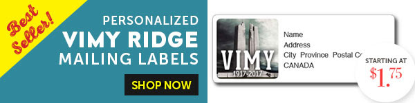 Best Selling Vimy Ridge Mailing Labels!