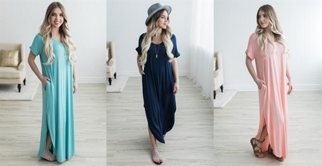 HOT!! Short Sleeve Maxi with P...