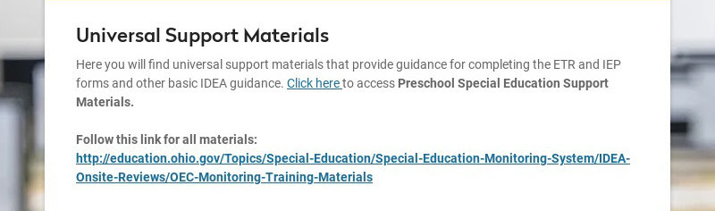 Universal Support Materials Here you will find universal support materials that provide guidance...