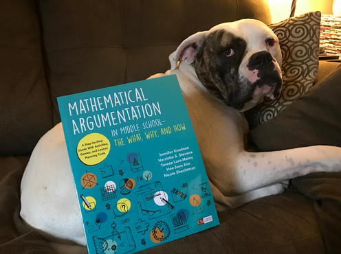 Photo of Puppy with New Mathematical Argumentation Book