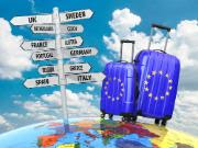 Suitcases and signpost what to visit in Europe