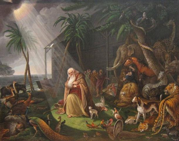 """Tanto Noé y Manu son descritos como hombres virtuosos. 'Noé y su Arca """"por Charles Wilson Peale, 1819"""