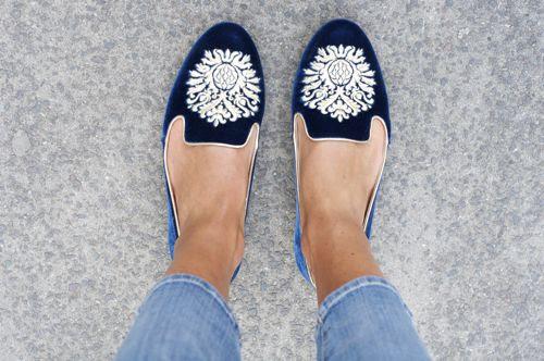 blue velvet shoes